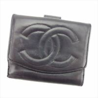 ecf7b988a6a332 Chanel Wallet Purse Folding wallet COCO Black Woman unisex Authentic Used  T7564
