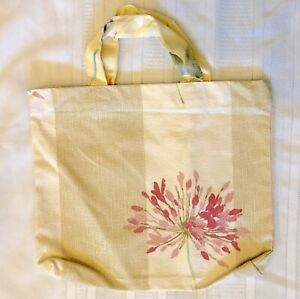 New Handmade Reusable Fabric Cloth SMALL TOTE BAG: Gift, Book, Lunch PINK FLOWER