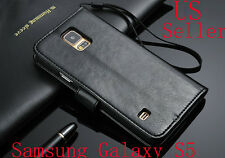 SALE Deluxe PU Leather Wallet Case Folio Flip Cover For Samsung Galaxy S5 I9600