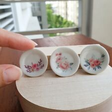 Dollhouse Miniatures Vintage Floral Flower Ceramic Plate Dish Decor Set x 3