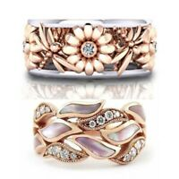 Women Rose Gold Floral Opal Ring Crystal Rings Wedding Jewelry Band Size 6-10