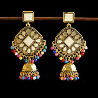 Vintage Jhumka Gold Color Tassel Beads Women Earring Ethnic Indian Gypsy Jewelry
