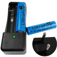 2Pcs 18650 Batterie 5000mAh 3.7V Li-ion Rechargeable Battery+4.2V EUplug Charger