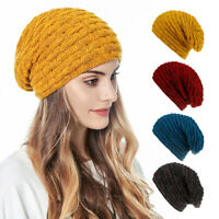 Warm Beanie Knit Hat Winter Cap Slouchy Skull Ski Solid Men Women Plain Baggy UK