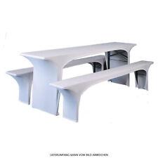 Bierzeltgarnitur Hussen Weiß 3tlg Set Stretch Husse für Bierzelt Budget Serie