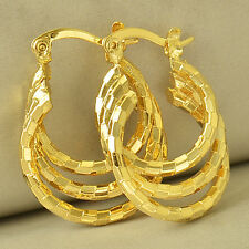 Womens Stylish 9K Yellow Gold Plated 3-Row Hoop Earrings Fashion Jewelry