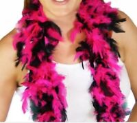 """Hot Pink & Black Feather Boa 55GM 6 ft 72"""" Costume Accessory Bachlorette Party"""