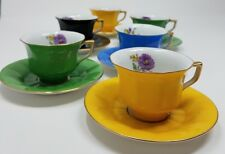EPIAG ROYAL China Demitasse Cups Saucers -Czechoslovakia Solid Color w Floral