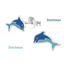 Kids 925 Sterling Silver Dolphine Stud Earrings. Light and Dark Blue.