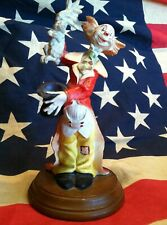 Collectible Vintage Clown Pulling Rabbit Out Of Top Hat Figurine Round Wood Base