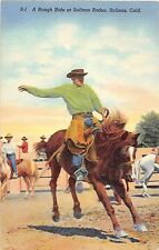 Salinas California rough ride at Salinas Rodeo cowboy on horse antique pc Y3179