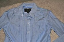 AMERICAN EAGLE MISSES SIZE 6 LONG SLEEVE STRIPED SHIRT BUTTON UP BLUE CUTE