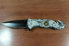 """8-1/2"""" Super Knife Assist Open Special Forces Grey CAMO Rescue Pocket Knife"""