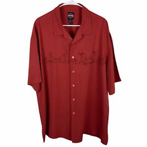 Harley Davidson Motorclothes Hawaiian Shirt XL Burnt Red Orange Rayon