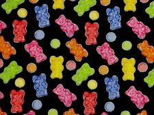 GUMMI BEARS FABRIC TRADITIONS SILVER CANDIES METALLIC COTTON HARIBO  BY THE YARD