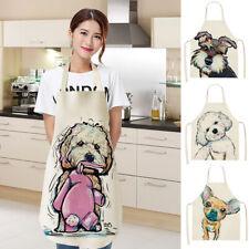 Cartoon Dog Painting Aprons Sleeveless Cotton Linen Pinafore Kitchen Apron uk
