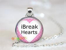 Heartbreaker Valentine dome Tibet silver Chain Pendant Necklace wholesale