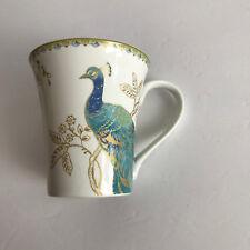 Blue & Gold Peacock Garden 222 Fifth coffee mug VGC