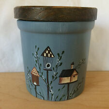 Crazy Mountain Round Blue Candle Holder Jar with Wood Wooden Lid Bird Houses