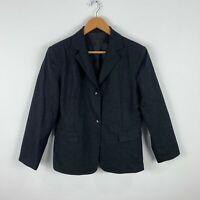 CUE Wool Blazer Jacket Coat Size 14 Black Vintage Long Sleeve Collared