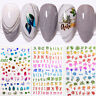 3D Nail Stickers Colorful Gold Leaves Letter Nail Art Transfer Decals Decoration