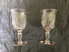 Vtg Set of 2 Gorham Gentry Pink Optic Swirl Glasses Water Goblets Beautiful