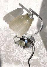 Lampada da tavolo metallo cromato Art Deco con  vetro originale c1930