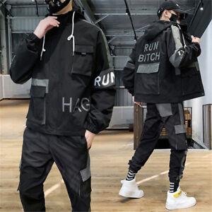 Men Tracksuit 2 Piece Casual Pants Jacket Sweatsuit Hip Hop Sweatshirt Cargo Set