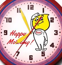 """Esso Happy Motoring Neon Wall Clock Hand Made In USA 20"""" ExxonMobile Oil Gas"""