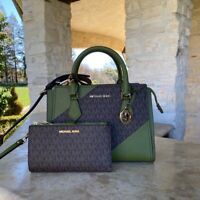 NWT Michael Kor Hope Signature Satchel / Wallet options Evergreen Multi