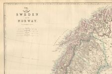 1863  LARGE ANTIQUE MAP - DISPATCH ATLAS- SWEDEN AND NORWAY