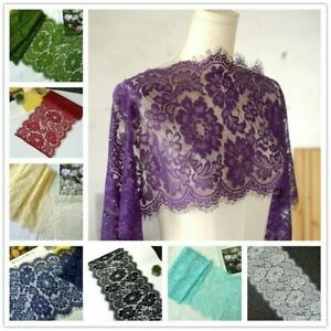 3 Meters Wide Lace Mesh Fabric Edge Trim Edging Wedding Dress Skirt Floral Craft