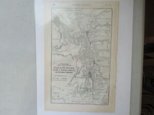 Original Vintage Map of the Puget Sound Traction, Light & Power Co ~ 1915