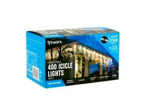 Lytworx 400 WHITE LED Christmas Connectable Icicle Lights w/ Memory Hold