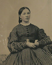 CIVIL WAR ERA TINTYPE THE LADY IN THE POLKA DOTTED DRESS