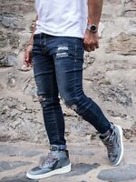 A.F.E.X D.G 2&Y STAR Men Slim Fit Ripped Pock Distressed Blue Jeans W 29-36 L33