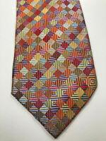 "Peacock Men's Necktie Multi-Color Geometric 100% Silk Tie W 3.25"" L 58"""