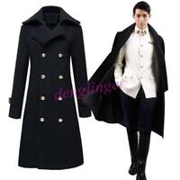 British Mens Military Double Breasted Jacket Long Trench Coat Buttons Fahsion sz