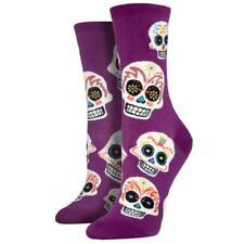 Socksmith Women's Purple Crew Socks Day of the Dead Big Muertos Sugar Skull