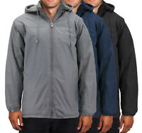 Men's Premium Fleece Lined Heavyweight Zip Up Hooded Windbreaker Rain Jacket