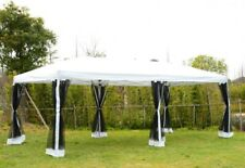 Garden Party Tent Pop-Up Wedding Canopy with Mesh Walls Patio Shelter 10' x 20'