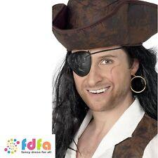 Black pirate eyepatch & or boucle d'oreille set costume robe fantaisie homme accessoire
