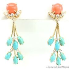 Antique Diamond Turquoise and Coral Drop  18kt Gold Earrings