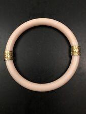 Pink Lucite Plastic Bangle Bracelet Gold Band Shamrock Vintage