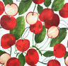 """VINTAGE APPLE PRINT ON IVORY POLY COTTON FABRIC 60"""" By Yard APPLES FRUIT MOTIF"""