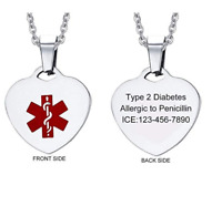 Free Engraving Medical Alert Heart Pendant Women Necklace Chain Stainless Steel
