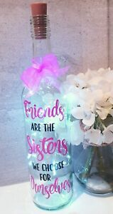"""LED Star Light Up Bottle Decorative Gift  """"Friends are the Sisters we choose"""""""