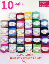 10x 100 Super Soft Crochet Cotton Ball 50g 3ply Wool Yarn 38 Colour Available