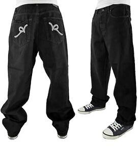 Rocawear Men's Retro Old Skool Baggy Hip Hop Jeans, New Time Is Money Era Blak39
