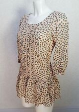 RIVER ISLAND nude pink Satin spots 3/4 sleeve pleated front Frill hem blouse 10